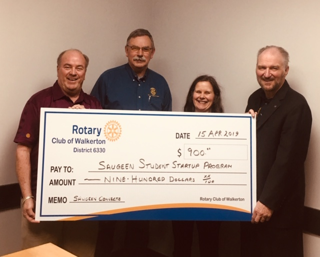 Walkerton Rotary Club Cheque for Saugeen Student Start-up Program in Walkerton and Brockton