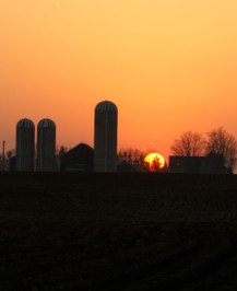 View of Farm at Sunset