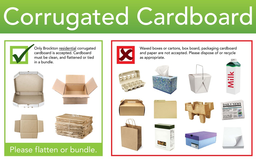 Accepted and unaccepted items for corrugated cardboard recycling