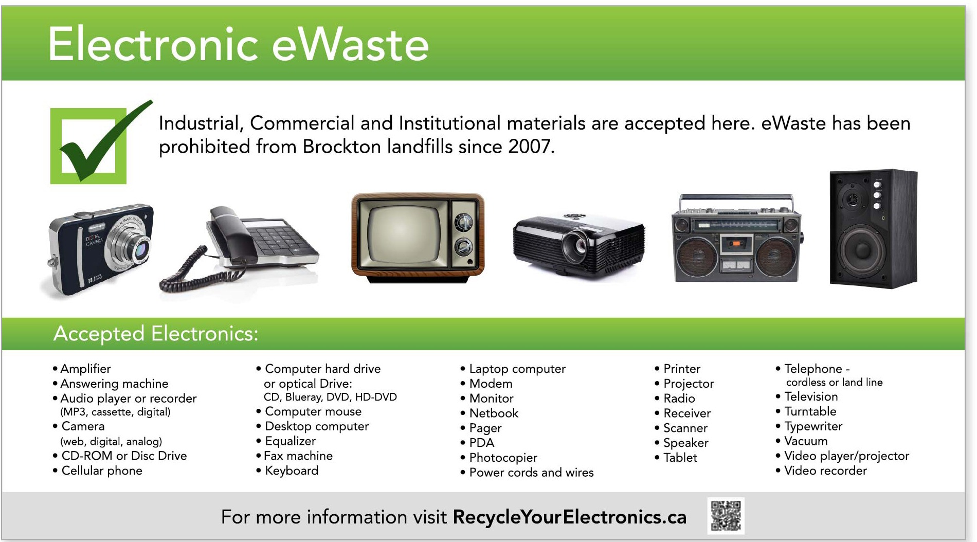 Accepted items for eWaste recycling